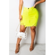 Lovely Casual Broken Holes Yellow Mini A Line Skir