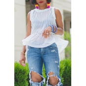 Lovely Casual Striped Patchwork White Blouses(With