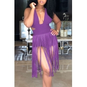 Lovely Sexy Tassel Design Purple One-piece Romper