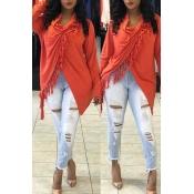 Lovely Casual Asymmetrical Orange Blouses