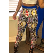 Lovely Leisure High Elastic Printed Blue Pants(Wit
