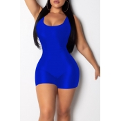 Lovely Casual Blue One-piece Skinny Romper(With El