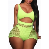 Lovely Sexy Hollow-out Green One-piece Swimwear