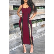 Lovely Sexy Lace-up Hollowed-out Wine Red Ankle Length Dress
