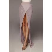 Lovely Women's High Split Khaki Ankle Length A Lin