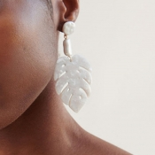Lovely Fashion Lea-shape White Alloy Earring