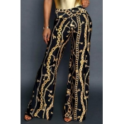 Lovely Stylish Printed High Waist Black Pants(With