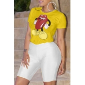 Lovely Casual Cartoon Printed Yellow T-shirt