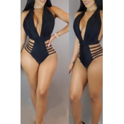Lovely Deep V Neck Hollow-out Black One-piece Swim