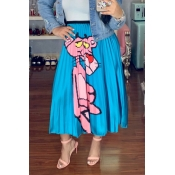 Lovely Casual Printed Blue Ankle Length A Line Ski