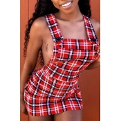 Lovely Sexy U Neck Backless Plaid Red Mini A Line