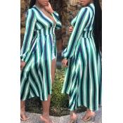 lovely Trendy Deep V Neck Striped Green Plus Size