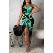 Lovely Stylish Printed Asymmetrical Green Ankle Le