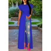 Schöne Stilvolle Blaue Bluse Mit Hohem Spalt