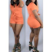 Lovely Casual Zipper Design Orange One-piece Romper(With Elastic)