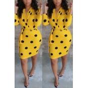 Lovely Stylish Dots Printed Yellow Mini Dress(With