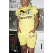 Lovely Leisure Cartoon Printed Yellow Two-piece Shorts Set