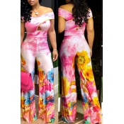 Lovely Bohemian Off The Shoulder Printed Light Pink One-piece Jumpsuit