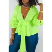 Encantadoras Blusas Verdes Con Cordones De Trabajo
