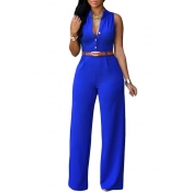 Lovely Casual Loose Royal Blue One-piece Jumpsuit(