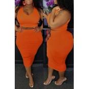 Lovely Casual O Neck Sleeveless Orange Two-piece S