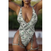 Lovely Deep V Neck Printed Hollow-out One-piece Swimwear