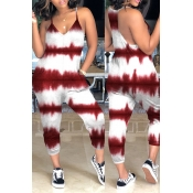Lovely Casual Tie-dye Wine Red Loose One-piece Jumpsuit