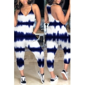Lovely Casual Tie-dye Dark Blue Loose One-piece Jumpsuit