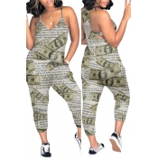 Lovely Casual Letter Printed Green Loose One-piece Jumpsuit