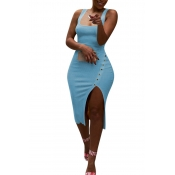Lovely Casual Side Split Baby Blue Knee Length Dre