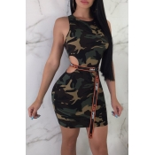 Lovely Casual Camouflage Printed Green Mini Dress(
