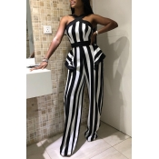 Lovely Stylish Off The Shoulder Striped Black-whit
