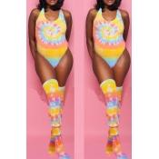 Lovely U Neck Tie-dye Yellow One-piece Swimwear(Wi