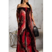 Lovely Stylish Off The Shoulder Printed Wine Red Loose One-piece Jumpsuit