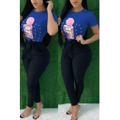 Lovely Casual Sequined Decorative Blue T-shirt