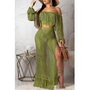 Lovely Sexy Hollow-out Tassel Design Light Green Two-piece Skirt Set(Without Lining)