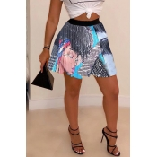 Lovely Casual Printed Drape Design Grey Skirt