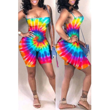 Lovely Casual Hollow-out Print Multicolor One-piece Romper