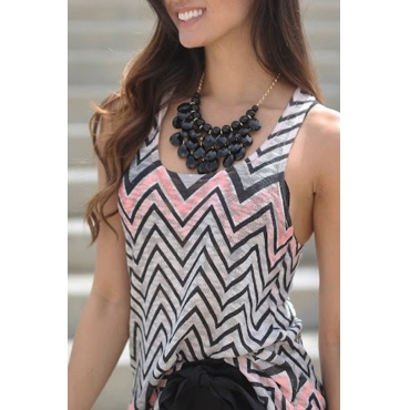 Lovely Leisure Geometric Printed  Grey Tank Top