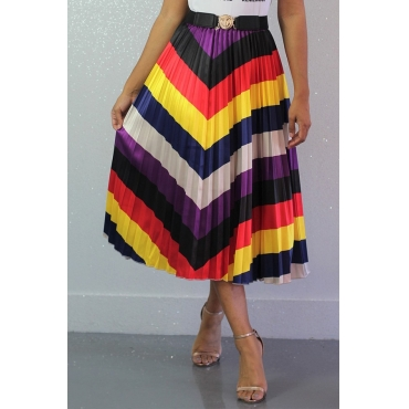Lovely Casual  Ruffle  Multicolor Ankle Length Skirts