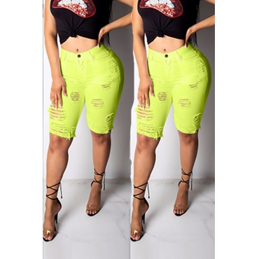 Lovely Casual Broken Holes Green Shorts