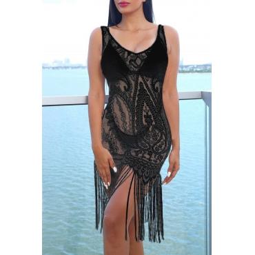 Lovely Black Tassel Design Lace Beach Dress