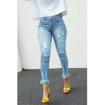 Lovely Casual Tassel Design Light Blue Denim Jeans