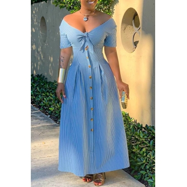 Lovely Sweet V Neck Striped Blue Ankle Length A Line Dress(With Elastic)