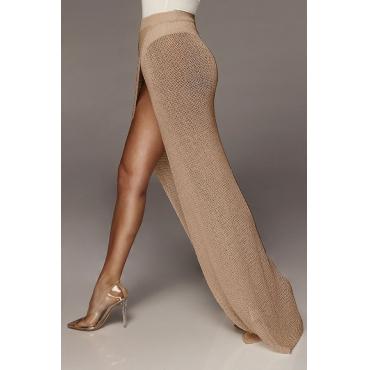 Lovely Women's High Split Light Tan Ankle Length A Line Skirts