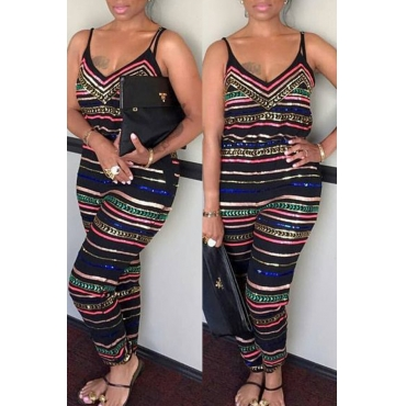 Lovely Casual Striped Printed One-piece Jumpsuit(With Elastic)