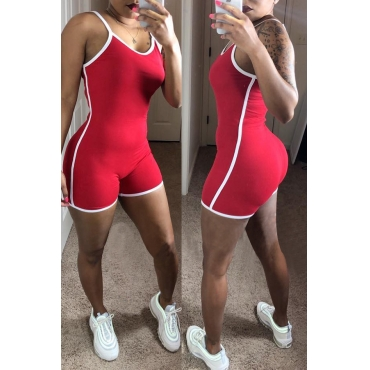 Lovely Casual Patchwork Red One-piece Romper