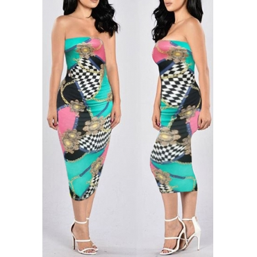 Lovely Trendy Off The Shoulder Printed Light Blue Knee Length Dress(With Elastic)
