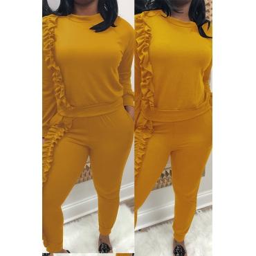 Conjunto De Pantalones De Dos Piezas Amarillos Con Diseño De Volantes Encantadores