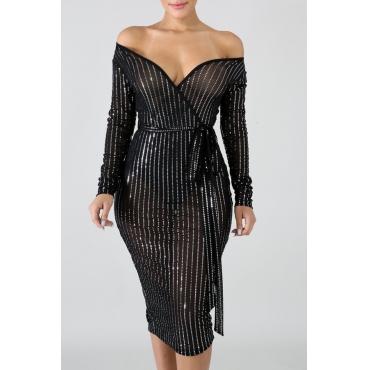 Lovely Off The Shoulder V Neck Black Knee Length Dress(With Elastic)